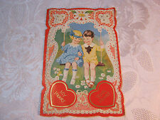 Embossed Valentine Girl & Boy On Swing Vintage Card T*