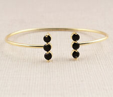 Black Spinel Prong Settings Yellow Gold Plated Bangles Braclets For Women Girls