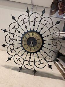 LARGE 2ft MIDCENTURY MODERN SUNBURST CLOCK ELGIN WEST GERMANY Wrought Iron