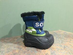 SOREL NV1805-979 BLACK BLUE GREEN WINTER BOOTS TODDLER SIZE 4