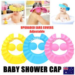 ADJUSTABLE BABY SHOWER CAP KIDS BATH SHAMPOO SHIELD WASH HAIR HAT EAR COVERS AU