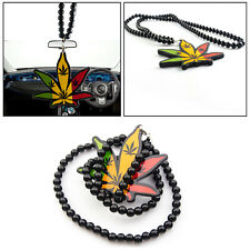 Cannabis Leaf Style Rearview Mirror Beaded Car Hanging Ornament Pendant Necklace