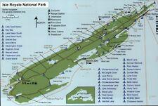 Map of Isle Royale National Park, Lake Superior Michigan, Trails etc. - Postcard