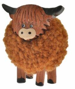 Standing Pom Pom Highland Cow Standing Ornament