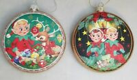 "Elf Reindeer Ornament Set 2 Vintage Style Retro Christmas Holiday 4"" Glass Disc"