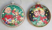 "Elf Reindeer Ornament Set 2 Vintage Style Retro Christmas Holiday 4"" Glass Disc"