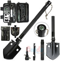 Military Folding Survival Shovel Heavy Duty Carbon Steel Spade Multi Tools Kit