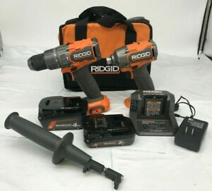 RIDGID 18V Brushless Hammer Drill and 3-Speed Impact Driver Kit (R9208), GR