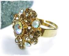 Neu RING goldfarben SWAROVSKI STEINE hellbraun/braun SCHMUCKSTEINE kristall AB