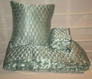 Candice Olson Pale Green Ventura Ogee King Coverlet Duvet + Shams + Pillow EC!