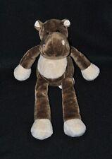 Peluche doudou hippopotame NICOTOY TOTAL brun marron crème 25 cm NEUF