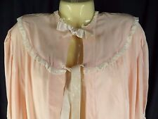 Antique Vintage Bed Jacket Pastel Coral Peach Lace Trim Hand Sewn Lingerie