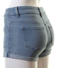 Ladies Womens Hotpants Turn Up Hem Holiday Coloured Jean Shorts 6 8 10 12 14 16