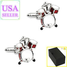 Drum Sets Cuff Links With Gift Box Hot Sale Men Cufflinks Red & White