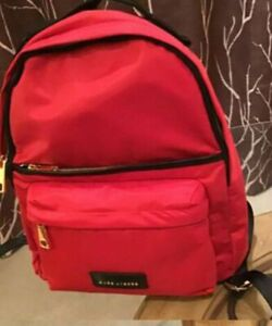 HOT!***New Marc Jacobs Red nylon Backpack In Red With Black Trim $250 Retail