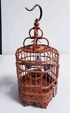 "Vtg Chinese Bamboo Carved Dragon Motif 6"" Mini Bird Cage w/Porcelain Feeders"