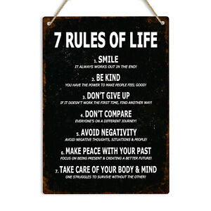 7 RULES OF LIFE Quote Vintage Metal Tin Wall Sign Plaque Motivational Home Decor
