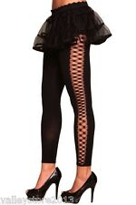 1018 Sexy Open Side Ripped Black Yoga Rave Leggings Nylon Pants Rave One Size