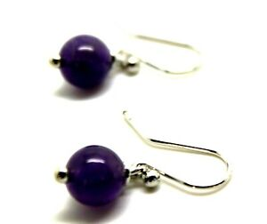 9CT WHITE GOLD 8mm PURPLE AMETHYST BALL EARRINGS *FREE EXPRESS POSTAGE IN OZ*