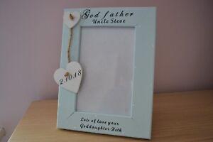 Personalised photo frame christening GODFATHER GODPARENTS gift any words