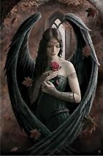 (LAMINATED) ANNE STOKES DARK ANGEL RED ROSE POSTER (61x91cm)  PICTURE PRINT NEW