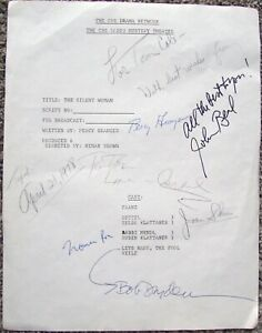 CBS RADIO MYSTERY THEATER PLAY SCRIPT COVER PAGE AUTOGRAPH BY JOHN BEAL + FIVE