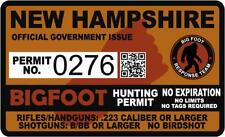 "4"" New Hampshire Nh Bigfoot Hunter Hunting Permit Sticker Sasquatch Vinyl Decal"