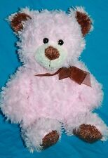 "Hugfun Int'l TEDDY BEAR 9"" Pink Swirl Brown Ear Plush Bow Soft Toy Stuffed Lovey"