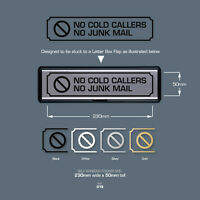 SKU018 - No Cold Callers - No Junk Mail - Front Door Letter Box Sign / Sticker