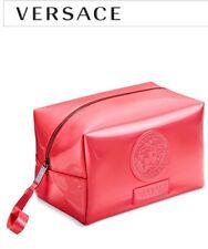 VERSACE PARFUMS PINK COSMETIC BAG MAKEUP CASE POUCH HANDBAG PURSE WITH DUST CASE