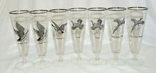 Wild Birds Goose Pheasant Grouse Canvasback Set of 7 Beer Pilsner Clear Glasses