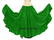 Black - Cotton 4 Tiered 10 Yard Gypsy Skirt Belly Dance Tribal Flamenco Jupe NEW