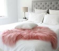CORAL PINK ICELANDIC SHEEPSKIN LAMBSKIN SHAGGY LONG HAIR FUR HIDE BED THROW RUG