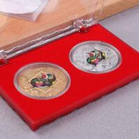 2pcs the Chinese zodiac pig anniversary coins commemorative coins tourism art_ex