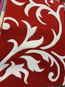 """QUALITY MODERN STYLE RUG Red/white Curved Mod120x170 Cm (4'x5'6"""")EASY 2 CLEAN"""