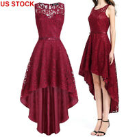Women's Bridesmaid Long Red Sleeveless Lace Evening Party Cocktail Summer Dress