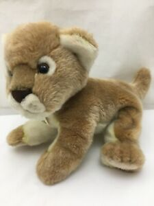 "Lion Cub Brown White Nature Babies Tag Aurora Handmade Soft Plush 11"" Toy Lovey"
