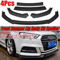Matte Front Lower Bumper Lip Body Kit Spoiler Splitter For Audi A3 S3 2017-2019