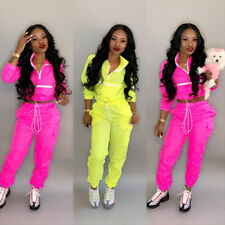 US Women Fashion Long Sleeves Zips Coat Casual Sports Club Casual Pants Suit 2pc