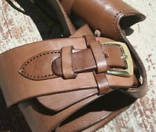 CHOCOLATE Leather Holster Hand Tooled and Belt Brown Smooth Hand Stitched 70022