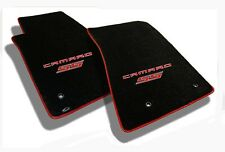 NEW! Ebony floor mats 2010-2015 Camaro Embroidered Logo SS in Red w/ red binding
