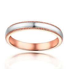 Solid 18K Rose Gold Milgrain Band Engagement & Wedding Fine Ring Without Stones