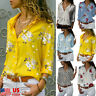 Women Long Sleeve Button Down Shirt OL Floral Loose Lapel Blouse Casual Tops US