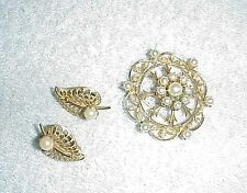 120/12KGF EARRINGS WITH GORGEOUS PEARL PIN, GOLD TONE, QUITE OLD& DELICATE