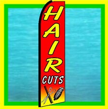 HAIR CUTS SWOOPER FLAG Beauty Barber Advertising Sign Feather Swooper Bow Banner