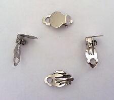 2 CHIUSURE PER ORECCHINI A CLIP ACCIAIO PIASTRINA BASE 10 mm nickel free