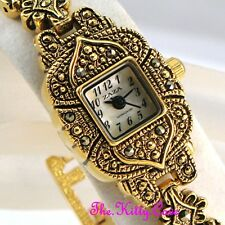 Vintage Arabesque Regency Gothic Cross Gold Plt MOP Marcasite Ladies Dress Watch