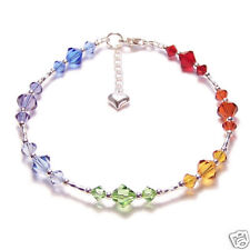 Sterling silver Chakra bracelet CRYSTAL bracelet reiki rainbow amethyst garnet