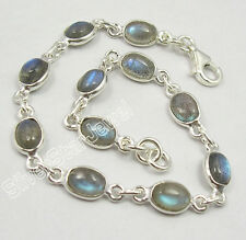 "925 Sterling Silver BLUE FLASH LABRDORITE MULTI GEMSTONE Bracelet 7 1/2"""