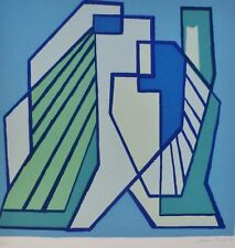 "Mario Radice ""Compositione astratta blue"" Hand Signed Lithograph Italian Artist"
